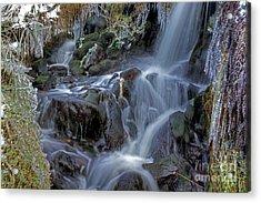 Winter Waterfall In Goyt Valley Acrylic Print by David Birchall