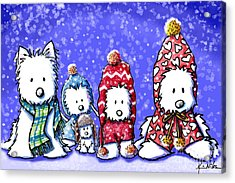 Winter Westies Acrylic Print by Kim Niles