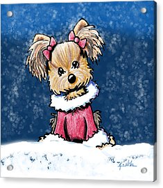 Winter Whimsy Yorkie Terrier Acrylic Print by Kim Niles