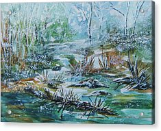 Acrylic Print featuring the painting Winter Whispers On Catskill Creek by Ellen Levinson