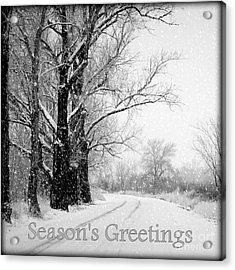 Winter White Season's Greetings Acrylic Print by Carol Groenen