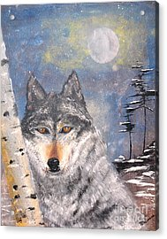Acrylic Print featuring the painting Winter Wolf by Denise Tomasura