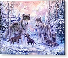 Winter Wolf Family  Acrylic Print