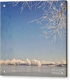 Winter Wonderland With Snowflakes Decoration. Acrylic Print by Lyn Randle