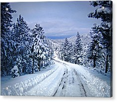 Winter Woodland Photo -country Roads Take Me Home -mountain Landscape -nature Acrylic Print by Julie Magers Soulen