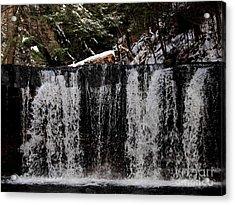 Winter Woodland Waterfall Acrylic Print