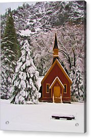 Winter Yosemite Chapel Acrylic Print by Heidi Smith