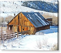 Wintering Range Barn Acrylic Print