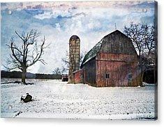 Winters Day Barn Acrylic Print by Cheryl Cencich