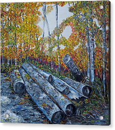 Acrylic Print featuring the painting Winter's Firewood by Marilyn  McNish