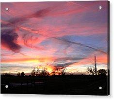 Winters' Sunset Rainbow Acrylic Print by Cheryl Damschen