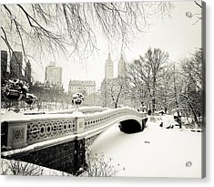 Winter's Touch - Bow Bridge - Central Park - New York City Acrylic Print by Vivienne Gucwa