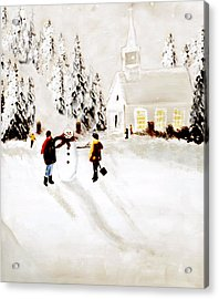 Wintertime In Pine Village Acrylic Print by Chastity Hoff
