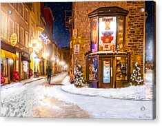 Wintery Streets Of Old Quebec At Night Acrylic Print by Mark Tisdale