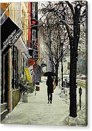 Wintry Walk Acrylic Print by Kenneth Young