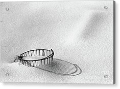 Wire Basket In Snow Acrylic Print