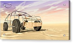 Wire Toy Car In The Desert Perspective Acrylic Print by Allan Swart