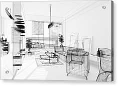 Wireframe 3d Modern Interior. Blueprint. Render Image. Architecture Abstract. Acrylic Print by PetrePlesea