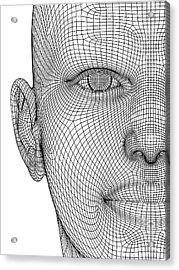 Wireframe Head Acrylic Print by Alfred Pasieka