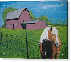 Acrylic Print featuring the painting Wisconsin Barn by Norm Starks