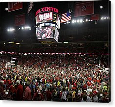Wisconsin Fans Rush The Court At The Kohl Center Acrylic Print by Replay Photos