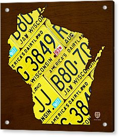 Wisconsin License Plate Map By Design Turnpike Acrylic Print by Design Turnpike