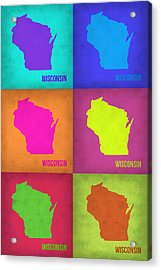 Wisconsin Pop Art Map 2 Acrylic Print by Naxart Studio