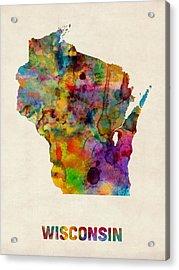 Wisconsin Watercolor Map Acrylic Print