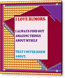 Wisdom Quote Rumors Artistic  Background Designs  And Color Tones N Color Shades Available For Downl Acrylic Print