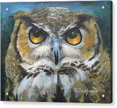 Acrylic Print featuring the painting Wise Old Owl Eyes  by Oz Freedgood