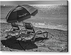 Wish You Were Here - Higgs Beach - Key West - Black And White Acrylic Print
