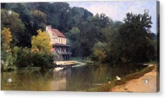 A Duck And A House On The Canal Acrylic Print by Spyder Webb