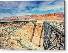 Wispy Clouds Over Navajo Bridge North Rim Grand Canyon Colorado River Acrylic Print
