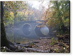 Wissahickon Creek And Bells Mill Road Bridge Acrylic Print by Bill Cannon