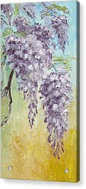 Wisteria And Gold Acrylic Print by Mary Rogers