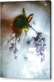 Wisteria In A Gold Pitcher Still Life Acrylic Print