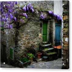 Wisteria On Stone House Acrylic Print by Lainie Wrightson