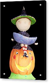 Witch And Pumpkin  Acrylic Print