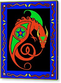 Acrylic Print featuring the digital art Witches Dragon by Vagabond Folk Art - Virginia Vivier