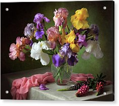 With A Bouquet Of Irises And Flowers Lupine Acrylic Print