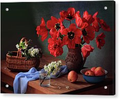 With A Bouquet Of Red Tulips Acrylic Print