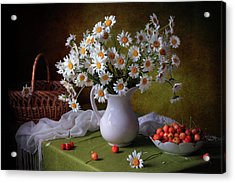 With Camomiles And Merry Acrylic Print by ??????? ????????
