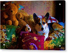 With His Friends On The Bed Acrylic Print