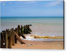 Withernsea Groynes Acrylic Print by Scott Lyons