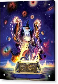 Wizard Dragon Spell Acrylic Print by Andrew Farley