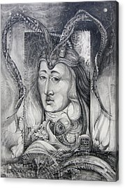 Acrylic Print featuring the drawing Wizard Of Bogomil's Island - The Fomorii Conjurer by Otto Rapp