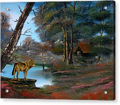 Wolf Alert. Acrylic Print by Cynthia Adams