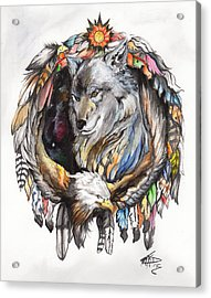 Wolf And Eagle Acrylic Print by Miguel Karlo Dominado