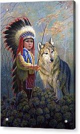 Wolf Boy Acrylic Print by Gregory Perillo