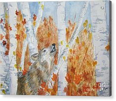 Acrylic Print featuring the painting Wolf Call by Ellen Levinson